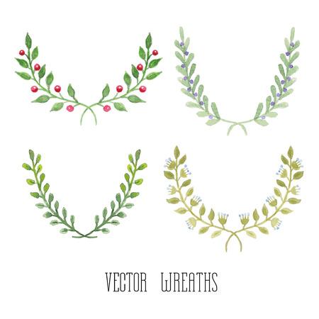 Watercolor  floral set of wreaths and laurels Vector