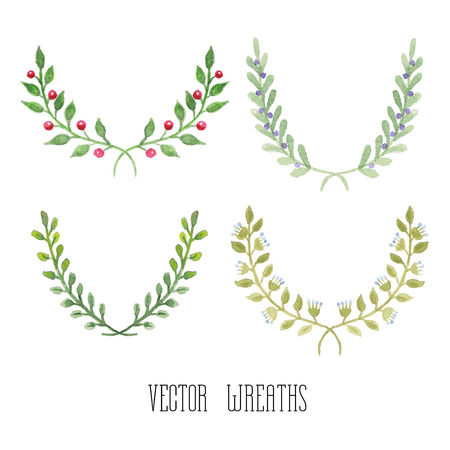greeting card invitation: Watercolor  floral set of wreaths and laurels
