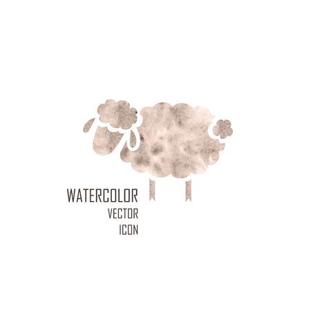 白い背景に羊の水彩のシルエット
