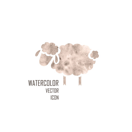 Watercolor silhouette of sheep on a white background