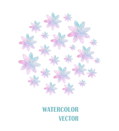 circle of watercolor flowers on white background Vector