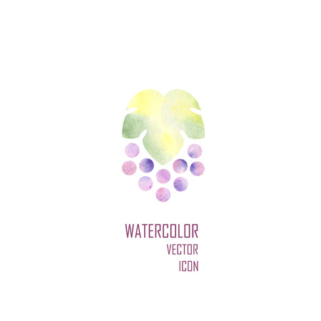winy: Watercolor silhouette of grapes on white background. Vector illustration.