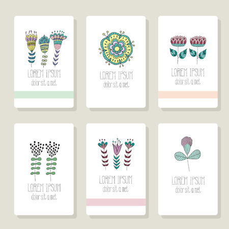 Set of cards, invitation with hand drawn floral elements for wedding, marriage, bridal, birthday Vector