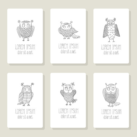 Set of cards, invitation with hand drawn cartoon vector owls. Vector
