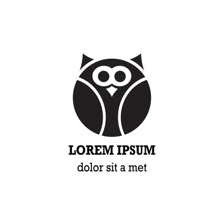 night owl: Stylized owl is isolated on white background. Illustration