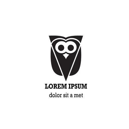 pigeon owl: Stylized owl is isolated on white background. Illustration