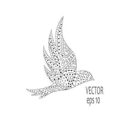 wings icon: Uccello nero isolato con le ali estese, icona Vettoriali