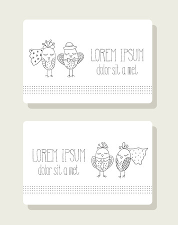 role: Cards with the image of the birds in the role of bride and groom Illustration
