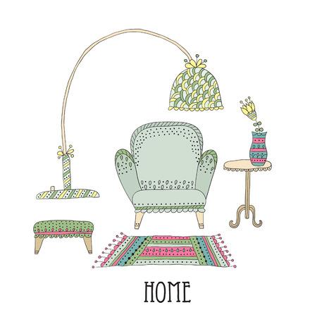 Étagère et la lampe - la décoration intérieure. Ensemble d'éléments de design
