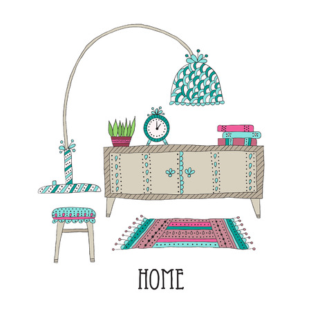 Shelf and lamp -  interior decoration. Set of design elements Illustration