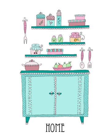 sideboard: Kitchen set in vector. Design elements of kitchen.