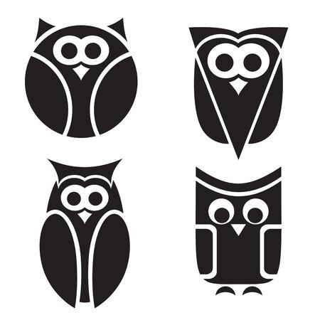Stylized owls are isolated on white background.