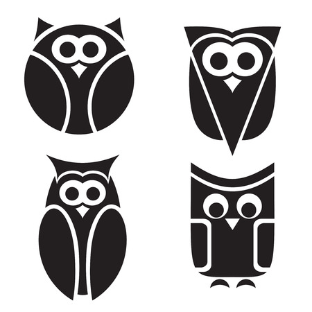 Stylized owls are isolated on white background.