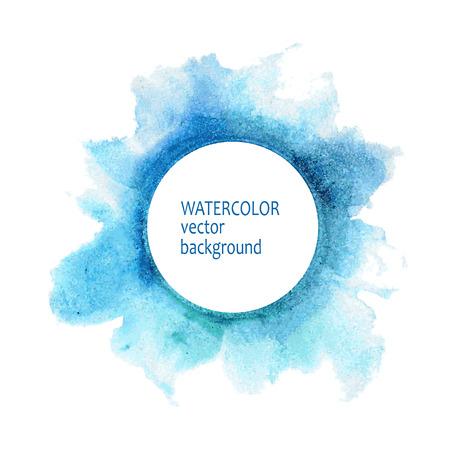 azul turqueza: Pintura abstracta de la acuarela c�rculo mano sobre fondo blanco