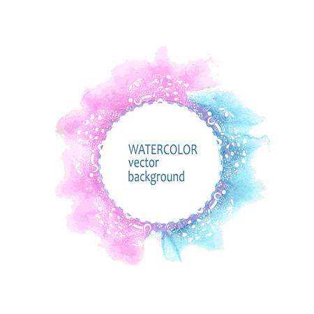 白い背景の上の抽象的な水彩サークル手塗料  イラスト・ベクター素材