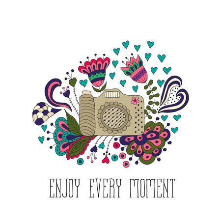 Photo camera with motivational quotes, remember every moment. Photo camera with flower. Vector