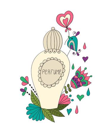 flower patterns: Parfumflesje met boog en bloemmotieven.