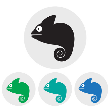 Stylized silhouette of a chameleon in different colors on a light background