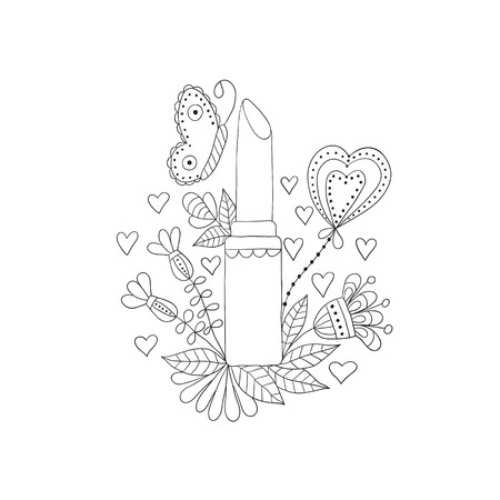 womens lipstick with flowers and butterfly on white background Vector