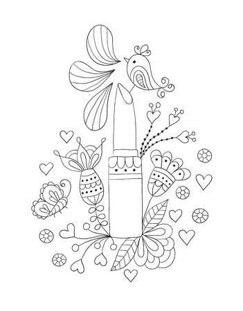 womens lipstick with flowers and bird on white background Vector