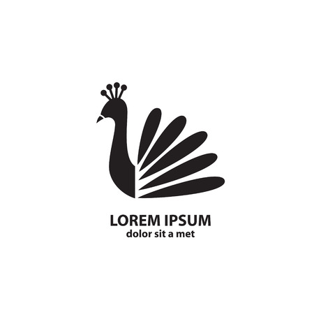 Stylized silhouette of a peacock on white background Vector