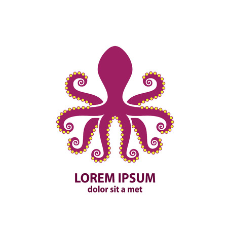 octopus: Stylized silhouette of an octopus on  light background