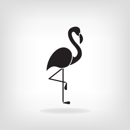 Stylized silhouette of a Flamingo on light background