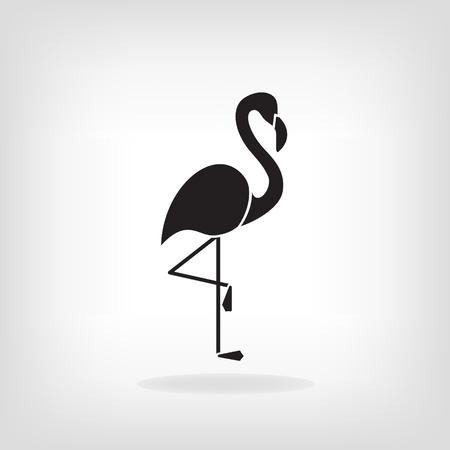 subtropics: Stylized silhouette of a Flamingo on light background