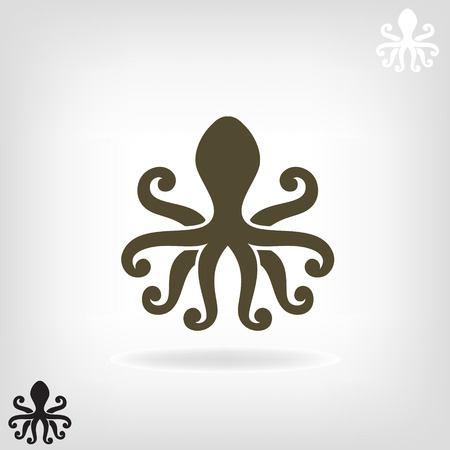cuttlefish: Stylized silhouette of an octopus on  light background