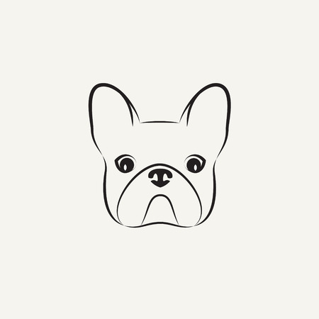 Stylized head of a bulldog on light background