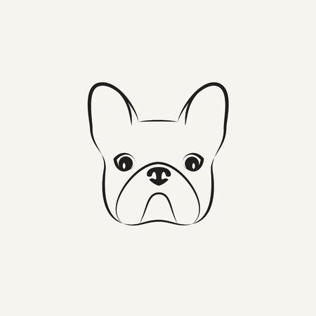 dog ear: Stylized head of a bulldog on light background