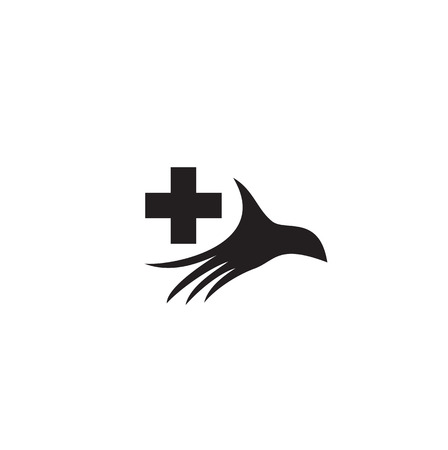 logo handshake: Stylized silhouette of a palm with a medical cross. Logo for medical centers and hospitals. Illustration