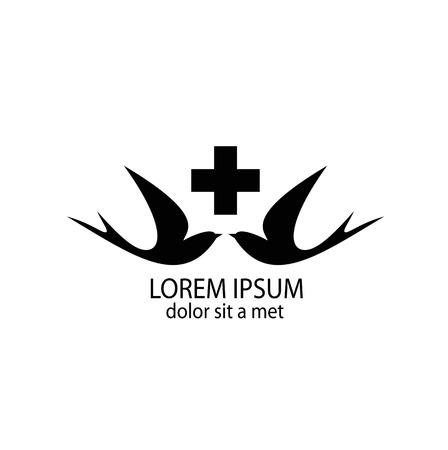 golondrinas: Silueta estilizada de unos tragos con una cruz médica. Logo de los centros médicos y hospitales. Vectores