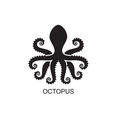 Stylized silhouette of an octopus on  light background