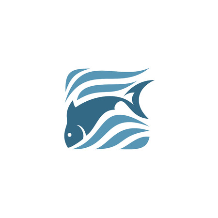 water waves: Stylized silhouette of fish,  sea - vector illustration Illustration