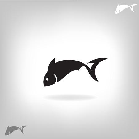 魚の様式化されたシルエット ライト ベクトル イラスト - 背景
