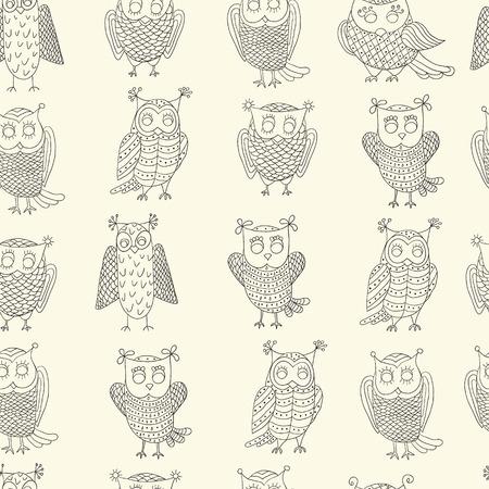 dormouse: Cute cartoon vector owls. Vector seamless pattern.