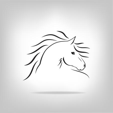 caballos negros: Vector de imagen de un caballo sobre fondo claro