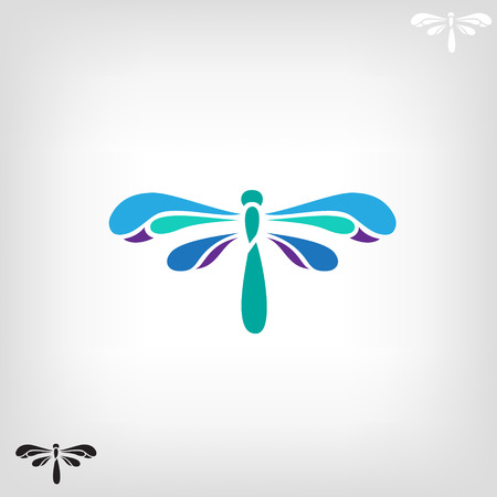 Dragonfly, abstract design silhouette on light background.