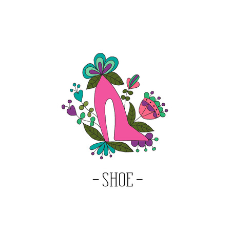 Stylized womens shoes in the flowers on a white background Ilustração