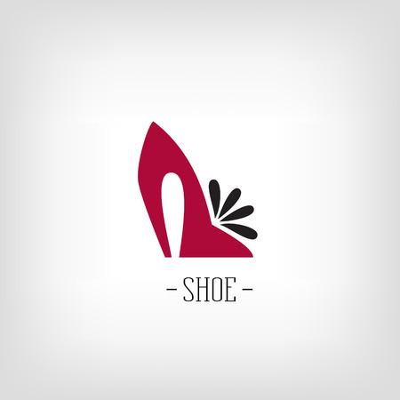 白い背景の上に様式化されたレディース シューズ。ロゴの靴屋。