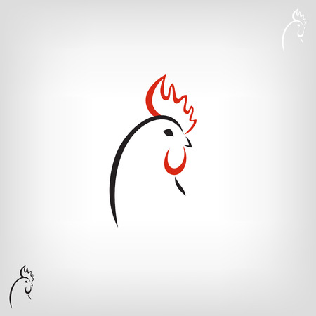 rooster at dawn: The black stylized cocks icon on a white background