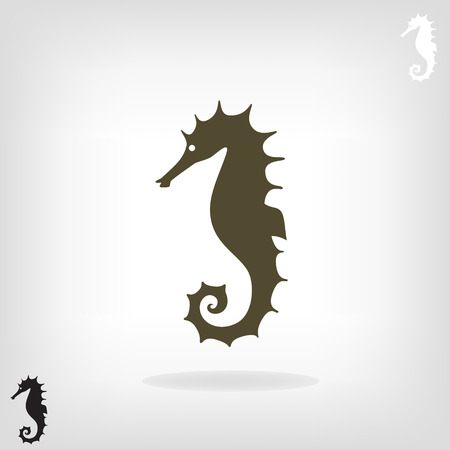horse fish: Stylized silhouette of a sea horse on a light background.