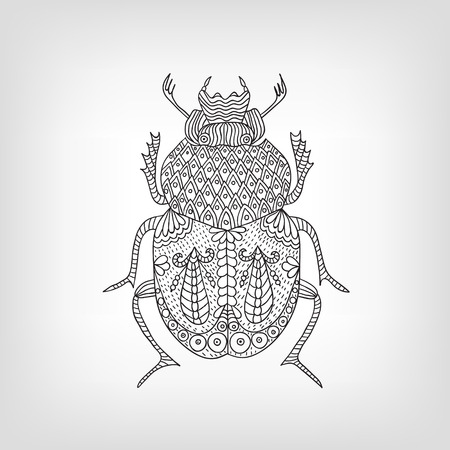 The scarab beetle on a light background. Vector illustration.