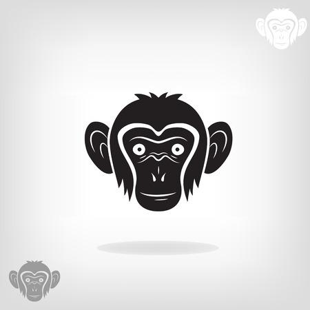 siluetas de animales: Cabeza estilizada de un mono en un fondo claro Vectores