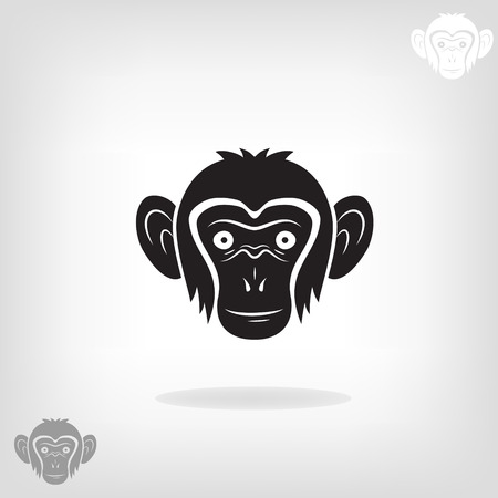 Stylized head of a monkey on a light background