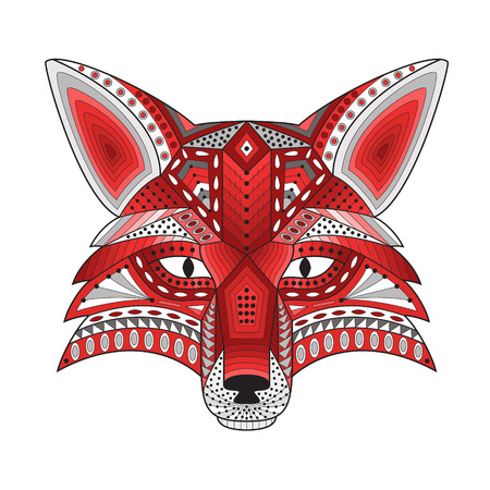 sneaky: Patterned stylized silhouette of head fox on a light background