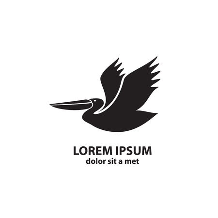 pelican: Stylized silhouette of a Pelican. Vector illustration.