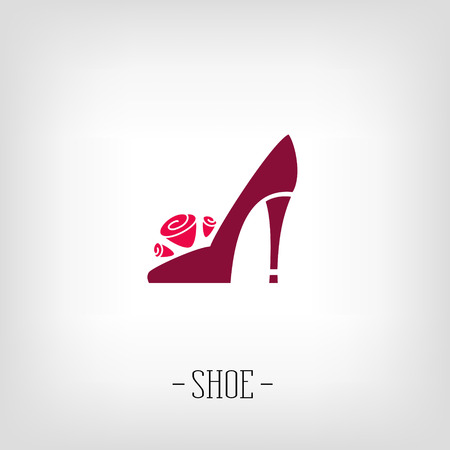 Stylized womens shoes on a white background. Logo shoe store.