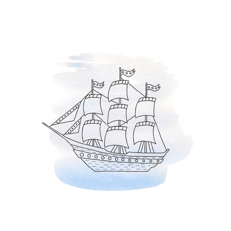 brigantine: Ship with sails on a blue watercolor background